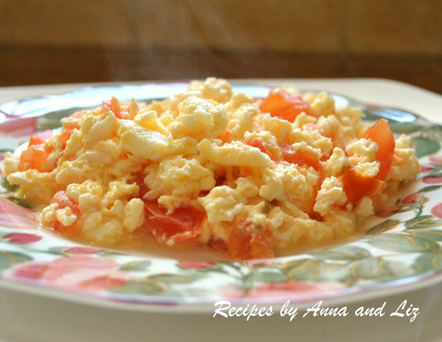 Eggs with Tomatoes and Cheese by 2sistersrecipes.com