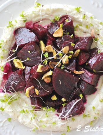 Beet Salad with Pomegranate Vinaigrette over Ricotta