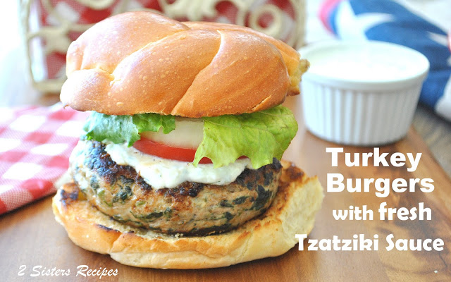 Turkey Burger on the table by 2sistersrecipes.com