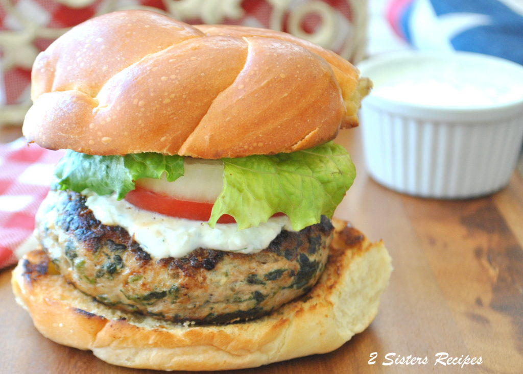 Turkey Burgers with Fresh Tzatziki Sauce. by 2sistersrecipes.com