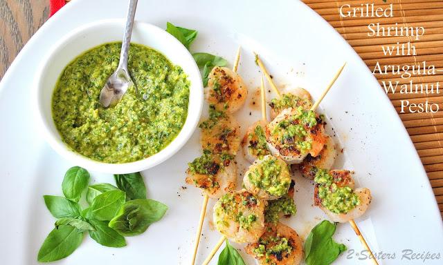 Grilled Shrimp Kabobs with Arugula-Walnut Pesto by 2sistersrecipes.com