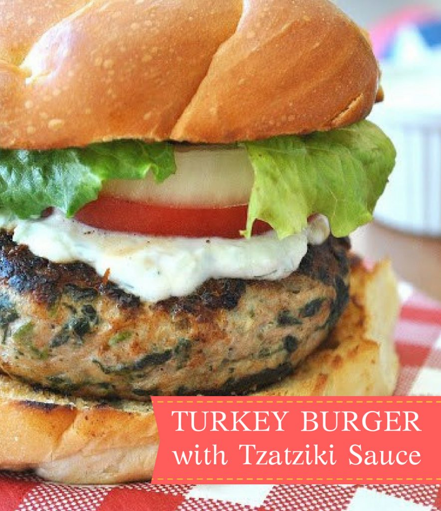 Turkey Burger with Fresh Tzatziki Sauce by 2sistersrecipes.com