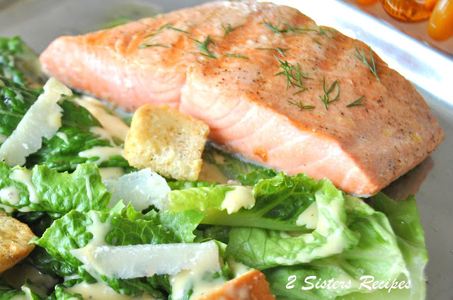 Grilled Salmon Caesar Salad, by 2sistersrecipes.com