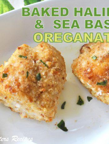 Baked Halibut & Sea Bass Oreganata , by 2sistersrecipes.com