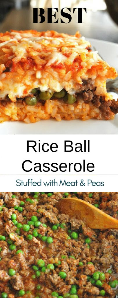 Best Rice Ball Casserole Stuffed with Meat & Peas by 2sistersrecipes.com
