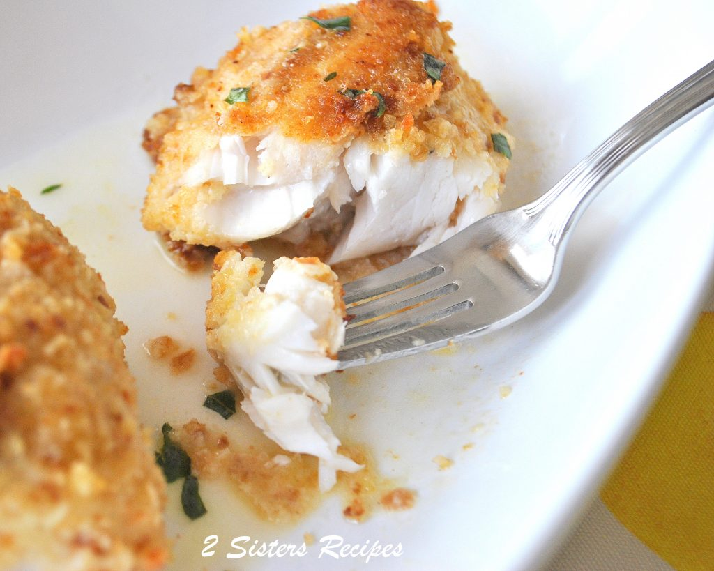 Baked Halibut & Sea Bass Oreganata by 2sistersrecipes.com