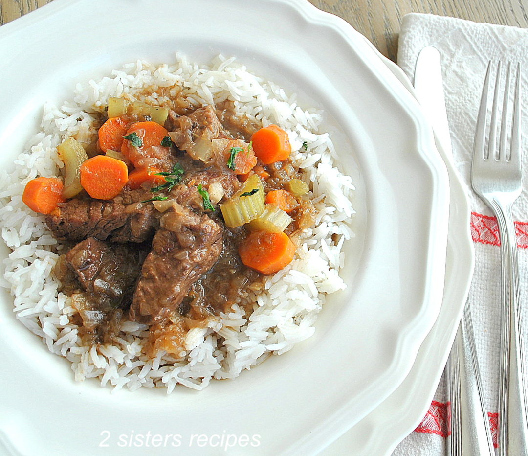 Beef Stew in Half the Time ! Served with Rice by 2sistersrecipes.com