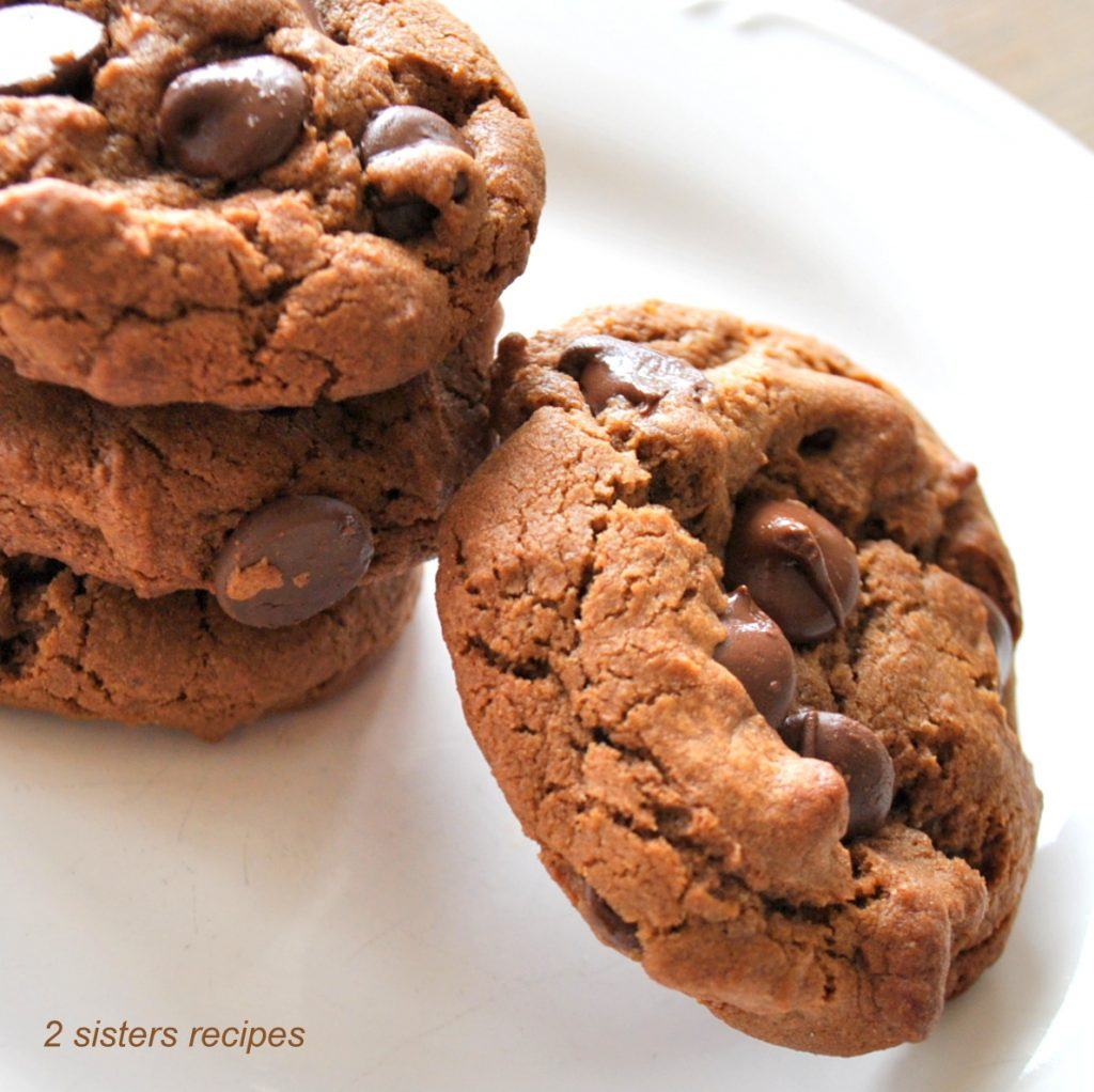 Chewy Dark Chocolate Chocolate Chip Cookies by 2sistersrecipes.com