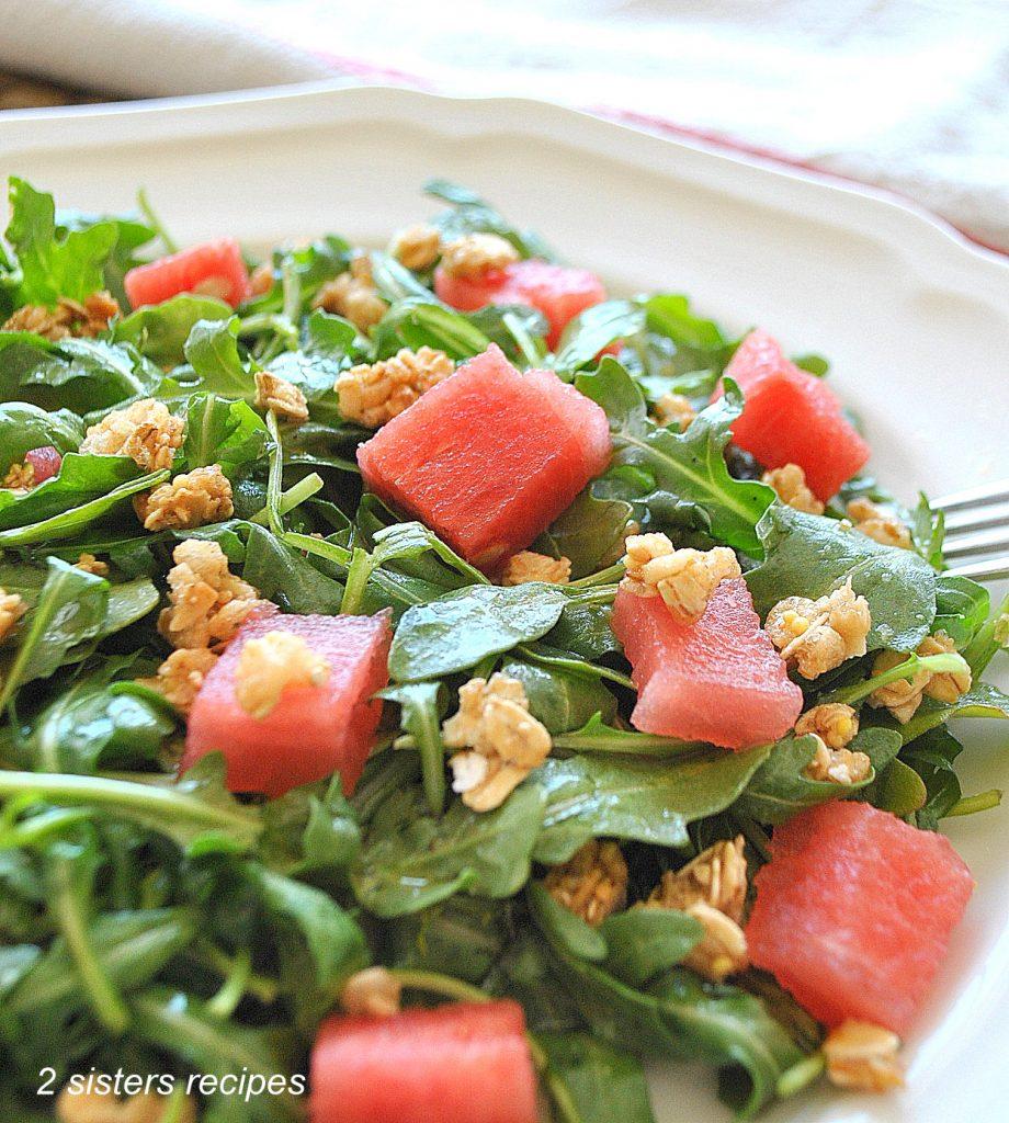 Baby Arugula Watermelon Granola Salad by 2sistersrecipes.com