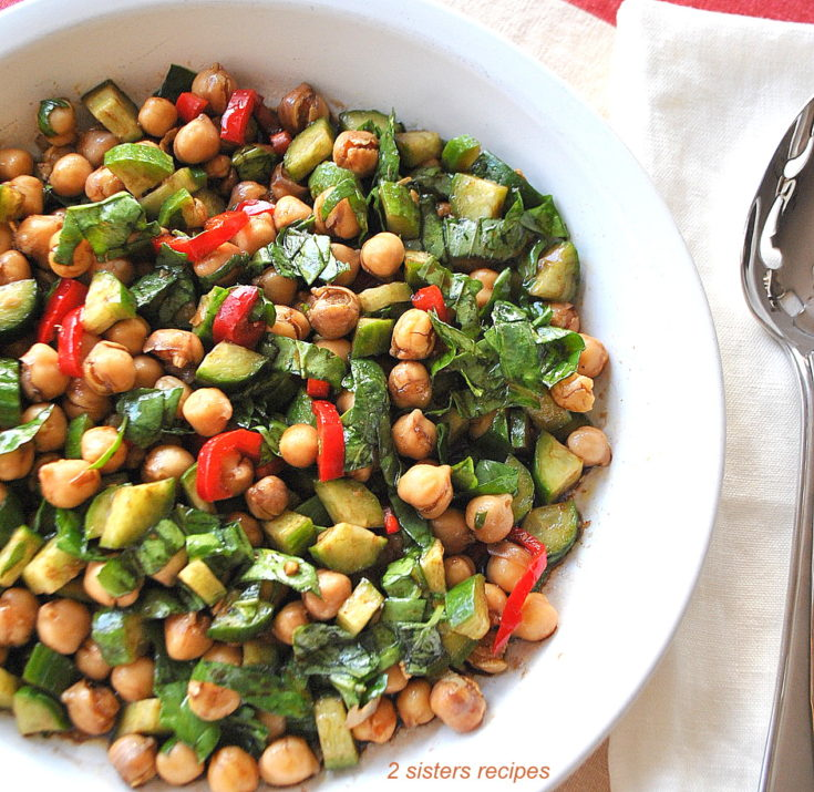 Platter with a mixture of vegetables and chickpeas by 2sistersrecipes.com
