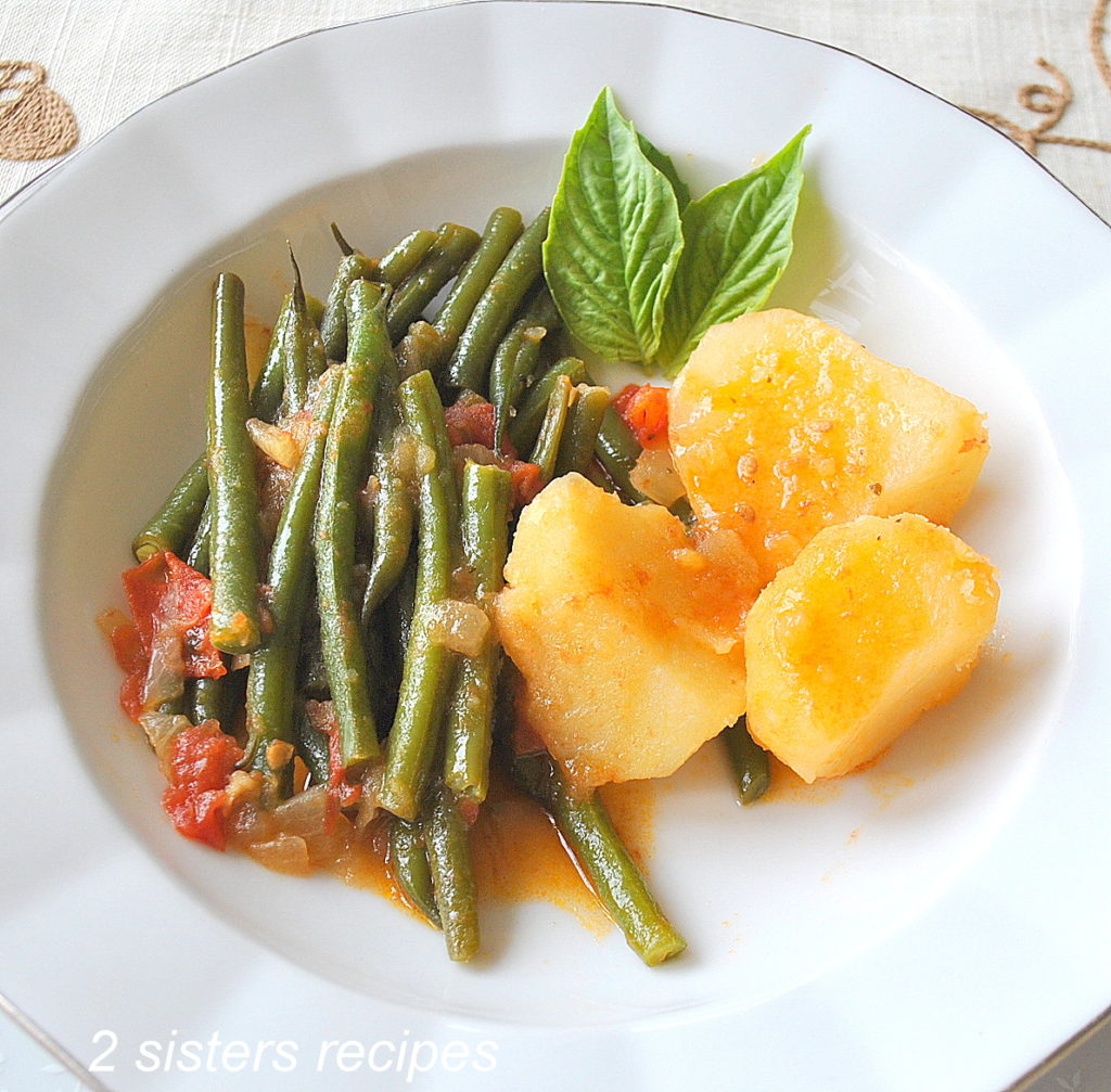 Healthy Vegetarian Recipes with a dish of our String Beans Tomato Potato Stew by 2sistersrecipes.com