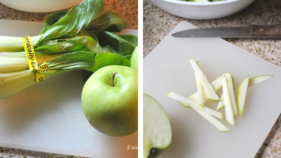 photo of the apple and bok choy on a cutting board. by 2sistersrecipes.com