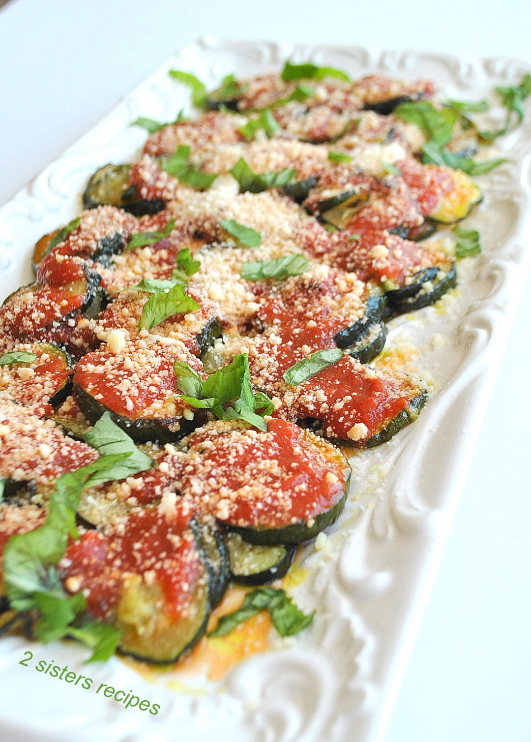 Roasted Zucchini Parmesan Lightened! by 2sistersrecipes.com