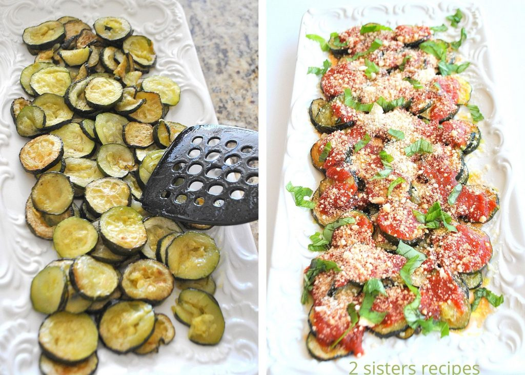 two photos of cooked zucchini in a white serving platter. by 2sistersrecipes.com