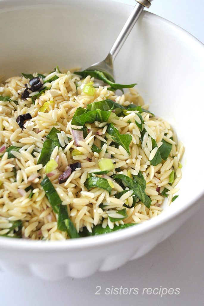 Best Orzo Salad with Spinach by 2sistersrecipes.com