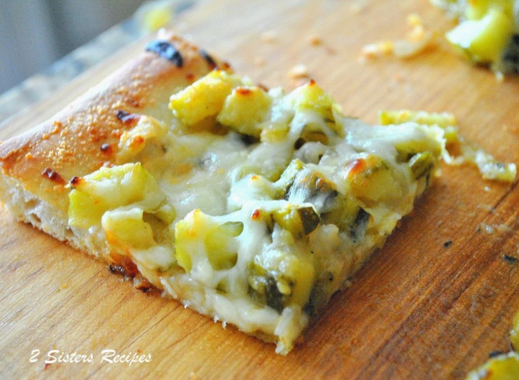 Baked Twice Zucchini and Cheese Pizza by 2sistersecipes.com