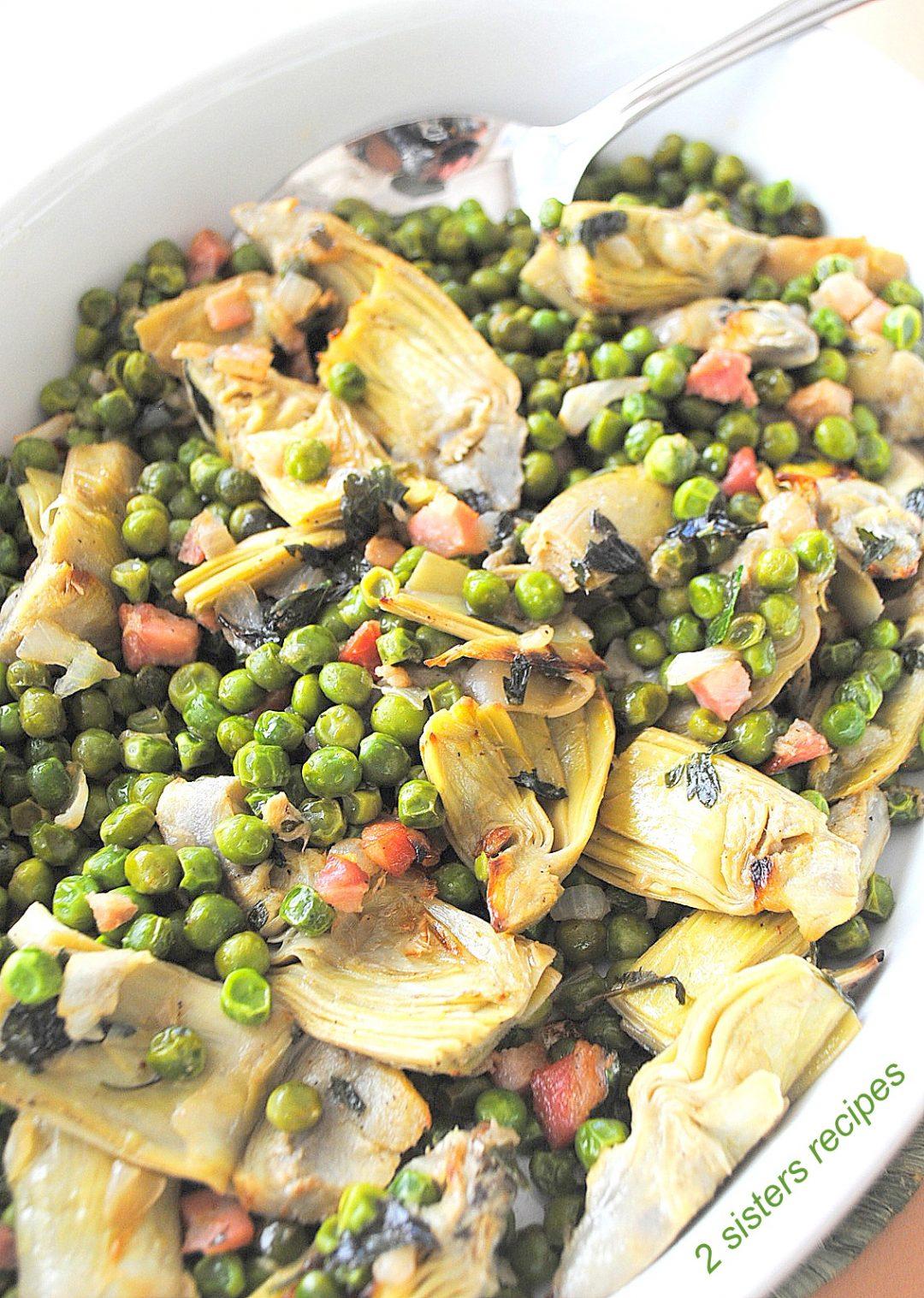 Baked Peas and Artichoke Hearts by 2sistersrecipes.com