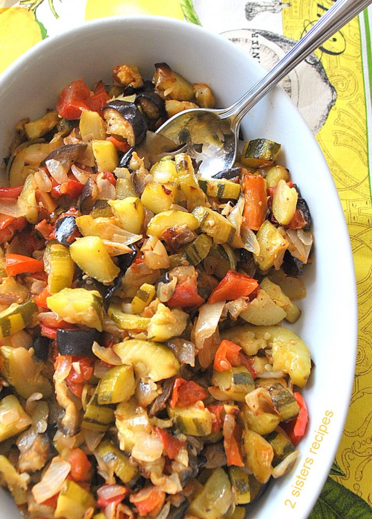 Healthy Vegetarian Recipes with a casserole dish of our Easy Baked Ratatouille by 2sistersrecipes.com