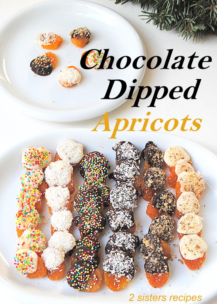 Chocolate Dipped Apricots by 2sistersrecipes.com