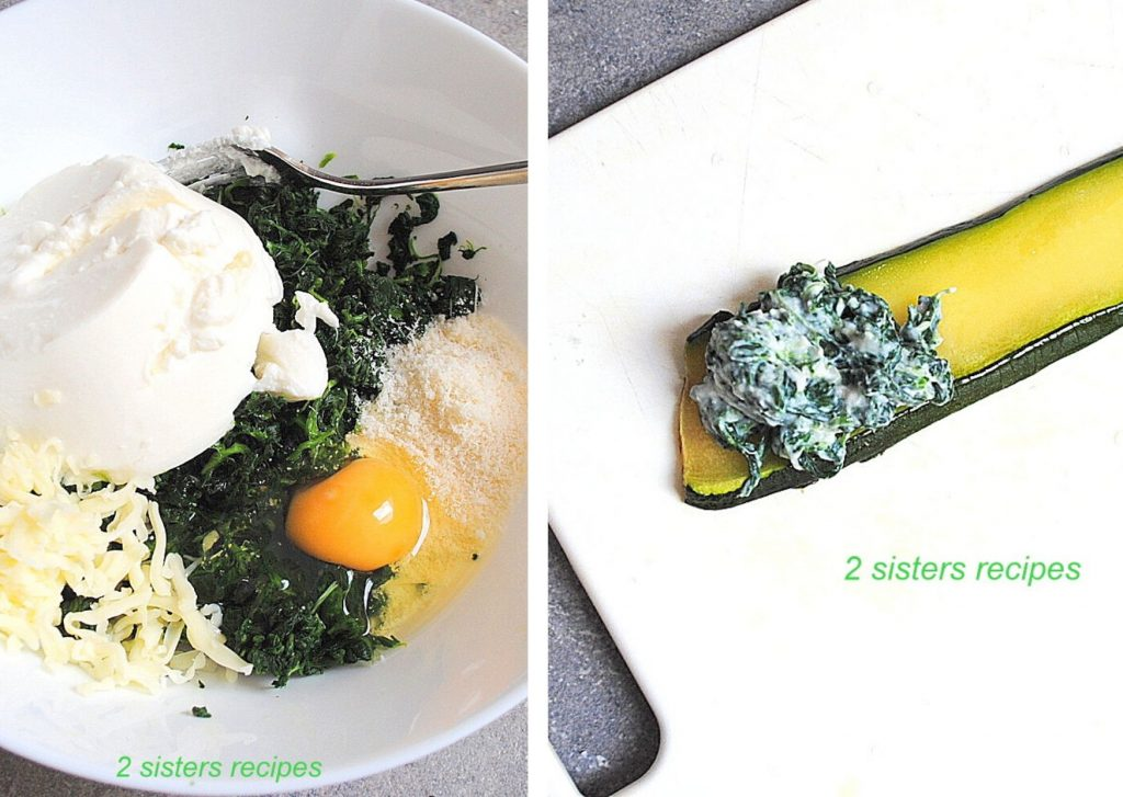 spinach, cheese and egg in a bowl by 2sistersrecipes.com