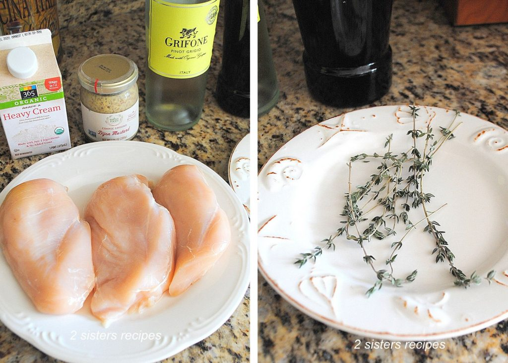 Photo of Chicken breasts and fresh thyme in a plate by 2sistersrecipes.com