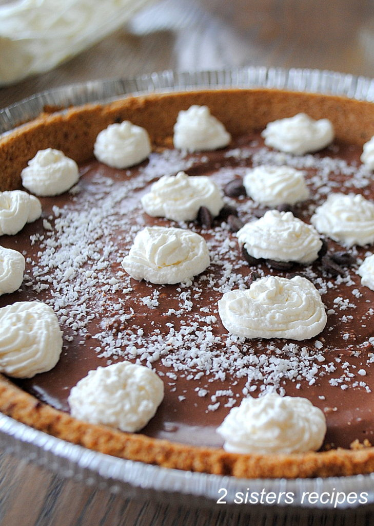 Silky Chocolate Cream Pie ( No-Bake, Dairy Free) by 2sistersrecipes.com