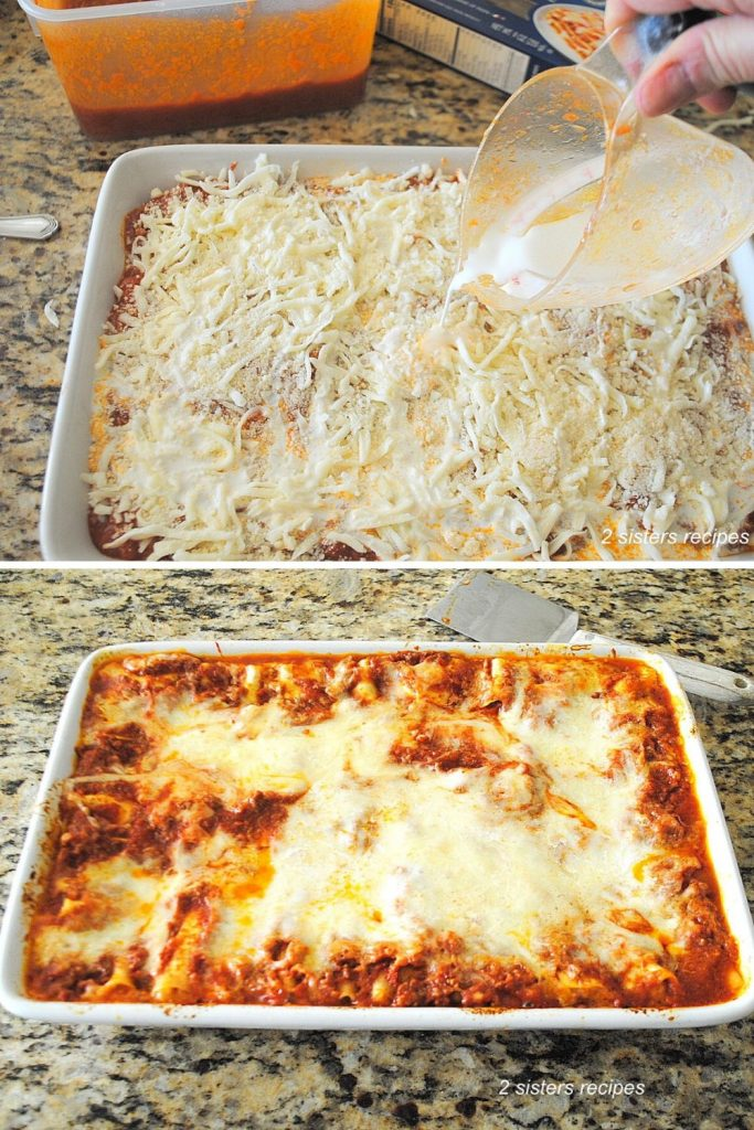 Pouring the cream on top of the lasagna as the final step by 2sistersrecipes.com