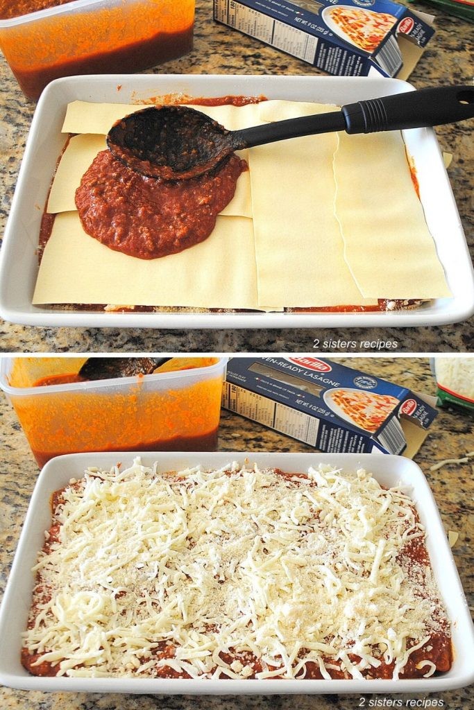 Adding bolognese sauce on top of no-boil noodles by 2sistersrecipes.com