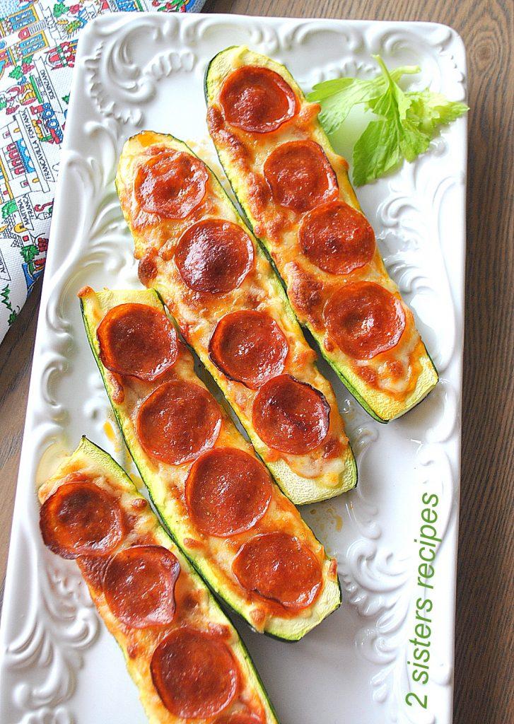 Zucchini Pepperoni Pizza Boats by 2sistersrecipes.com