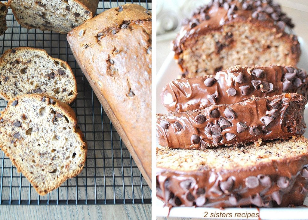 Slices of Chocolate chip banana bread on a wire rack. by 2sistersrecipes.com