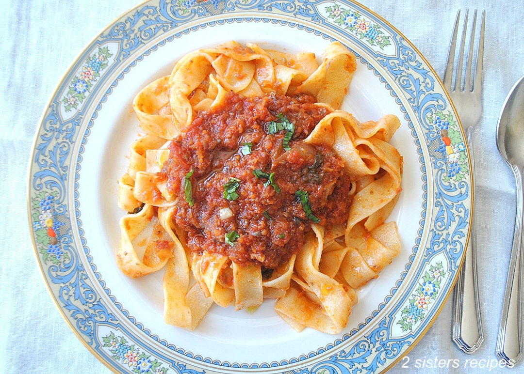 Vegetable Bolognese with Pappardelle by 2sistersrecipes.com