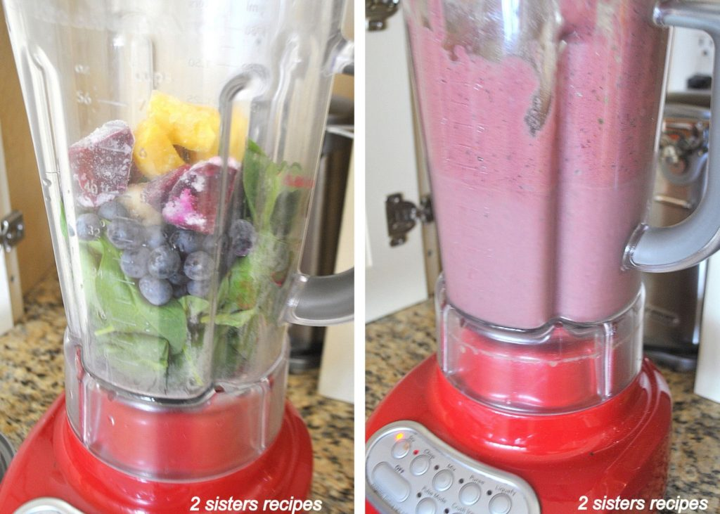 ingredients in a blender to make smoothie by 2sistersrecipes.com
