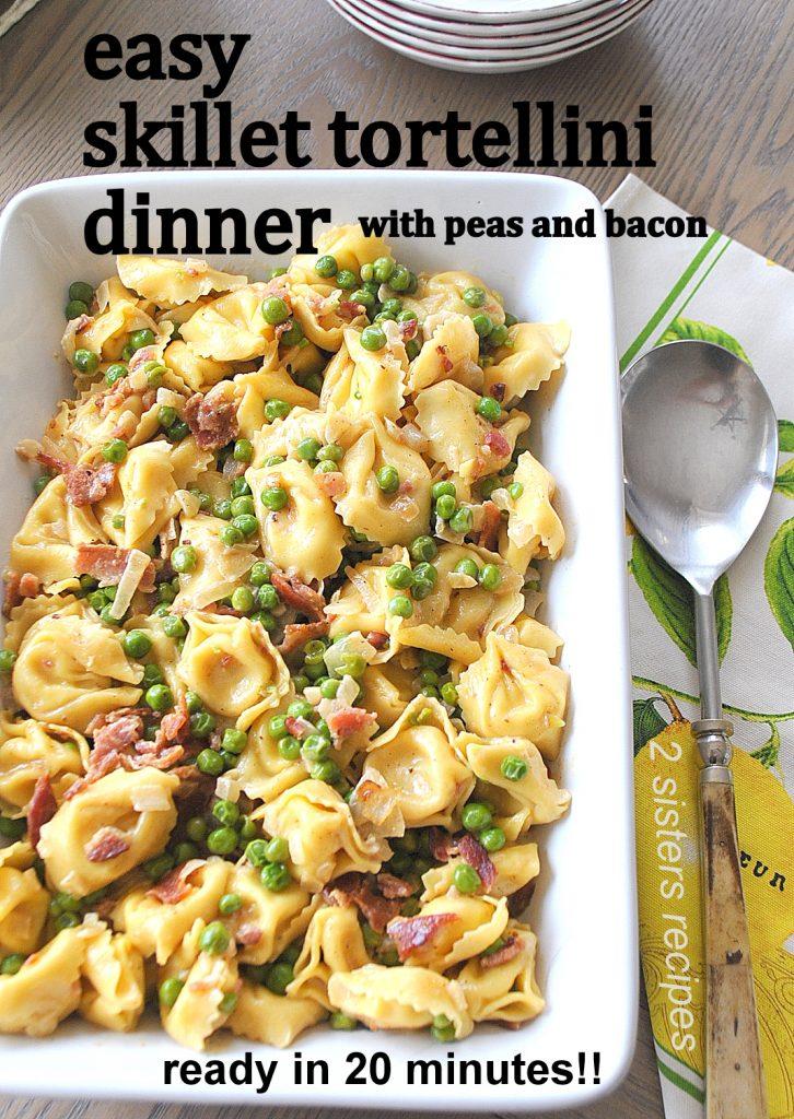 Easy Skillet Tortellini Dinner! by 2sistersrecipes.com