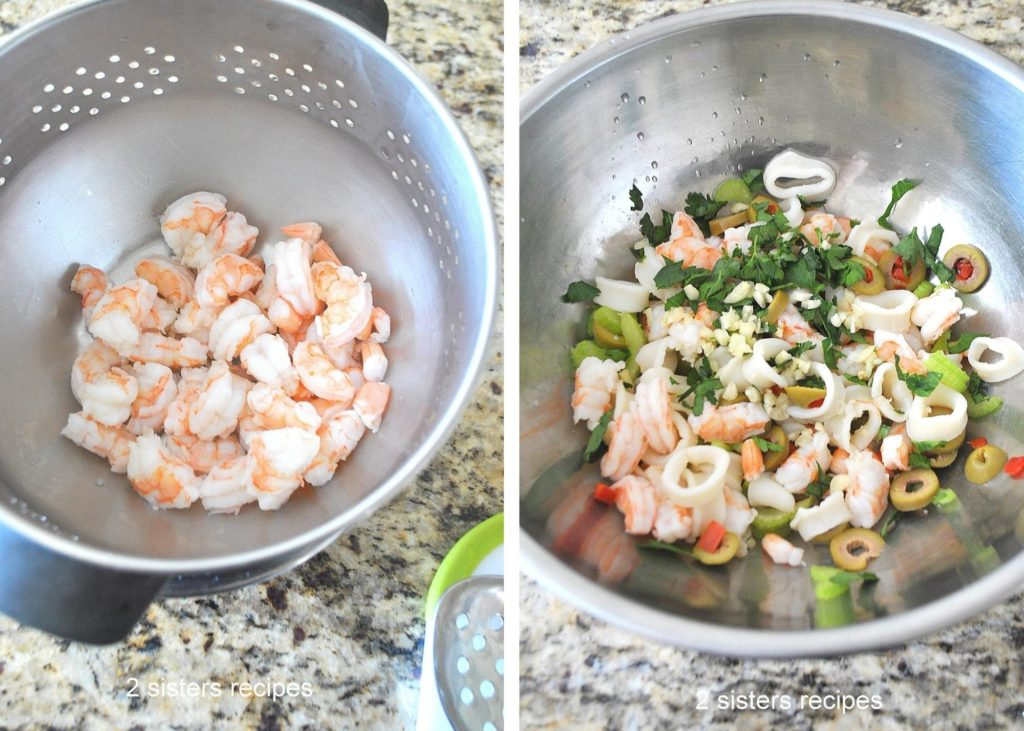 Bowls of cooked shrimp and salad in the other by 2sistersrecipes.com