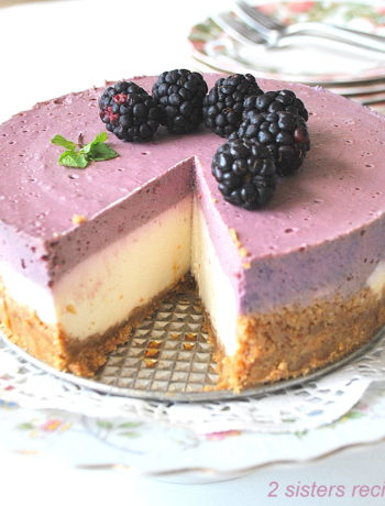 No-Bake Blackberry Cheesecake by 2sistersrecipes.com