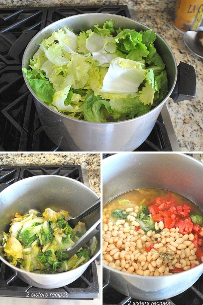 Escarole is placed into a large pot to cook. by 2sistersrecipes.com