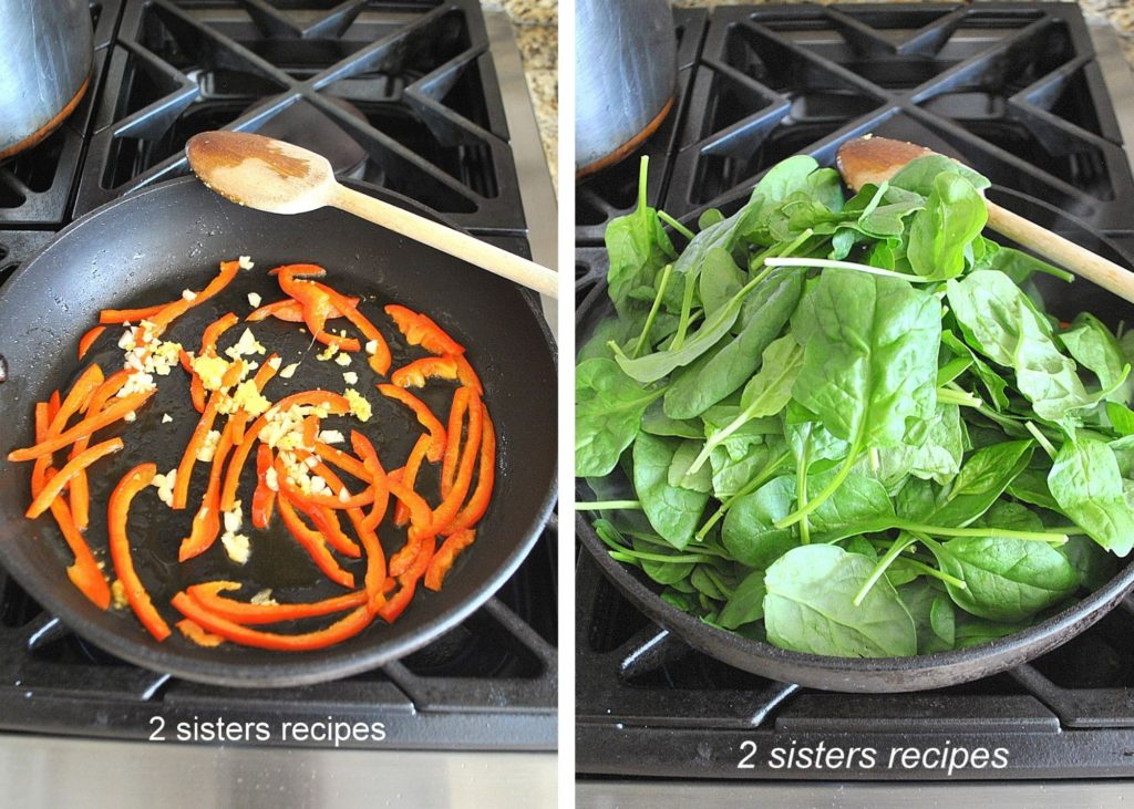 Photos of peppers in a skillet and fresh spinach added to it. 2sistersrecipes.com