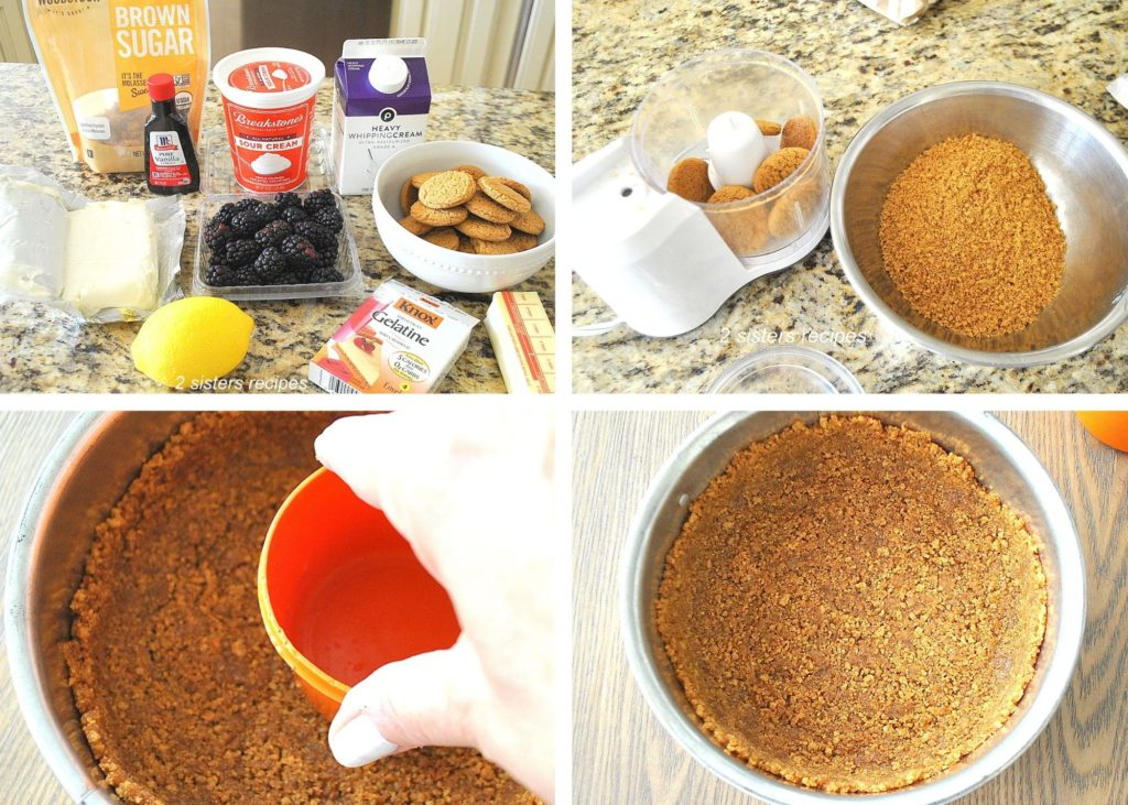 Photos of the ginger cookie crust in springform pan by 2sistersrecipes.com