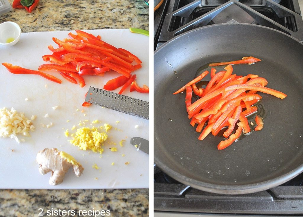 Photos of chopped ingredients and red peppers in a skillet. by 2sistersrecipes.com