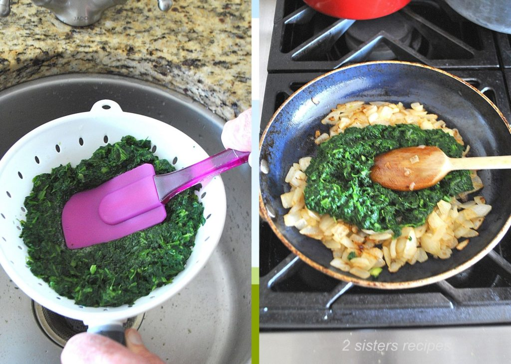 Spinach in a skillet by 2sistersrecipes.com