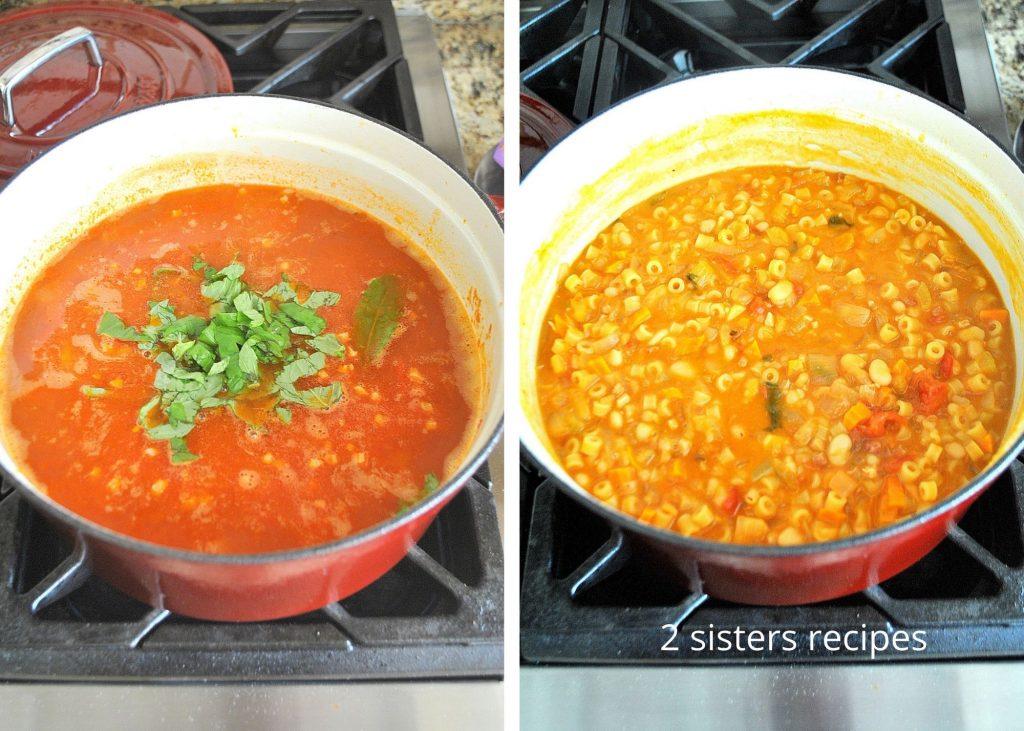 Final steps to make pasta fagioli soup. by 2sistersrecipes.com