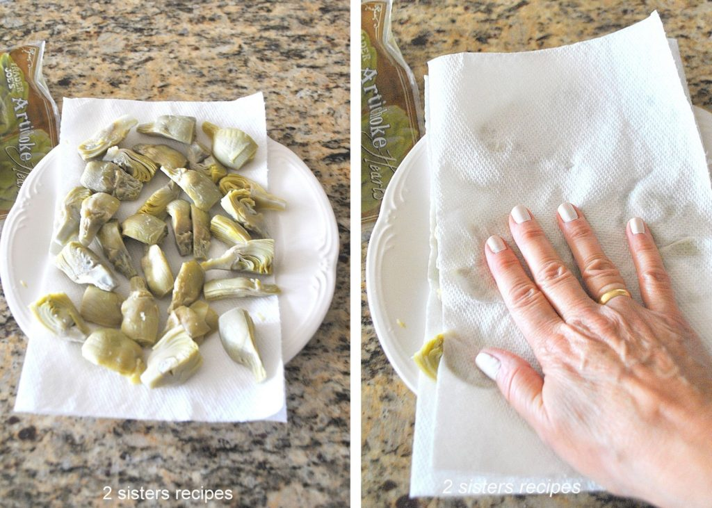 photo of artichokes on paper towels. by 2sistersrecipes.com
