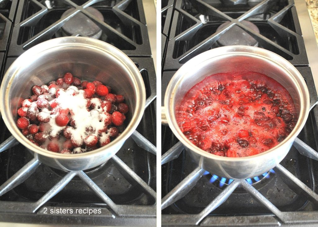 Cooking cranberries in a saucepan. by 2sistersrecipes.com