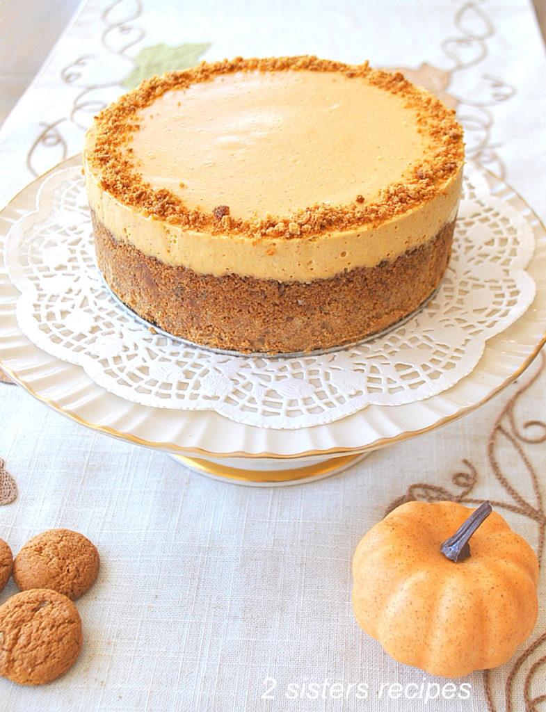 Best No-Bake Pumpkin Cheesecake by 2sistersrecipes.com