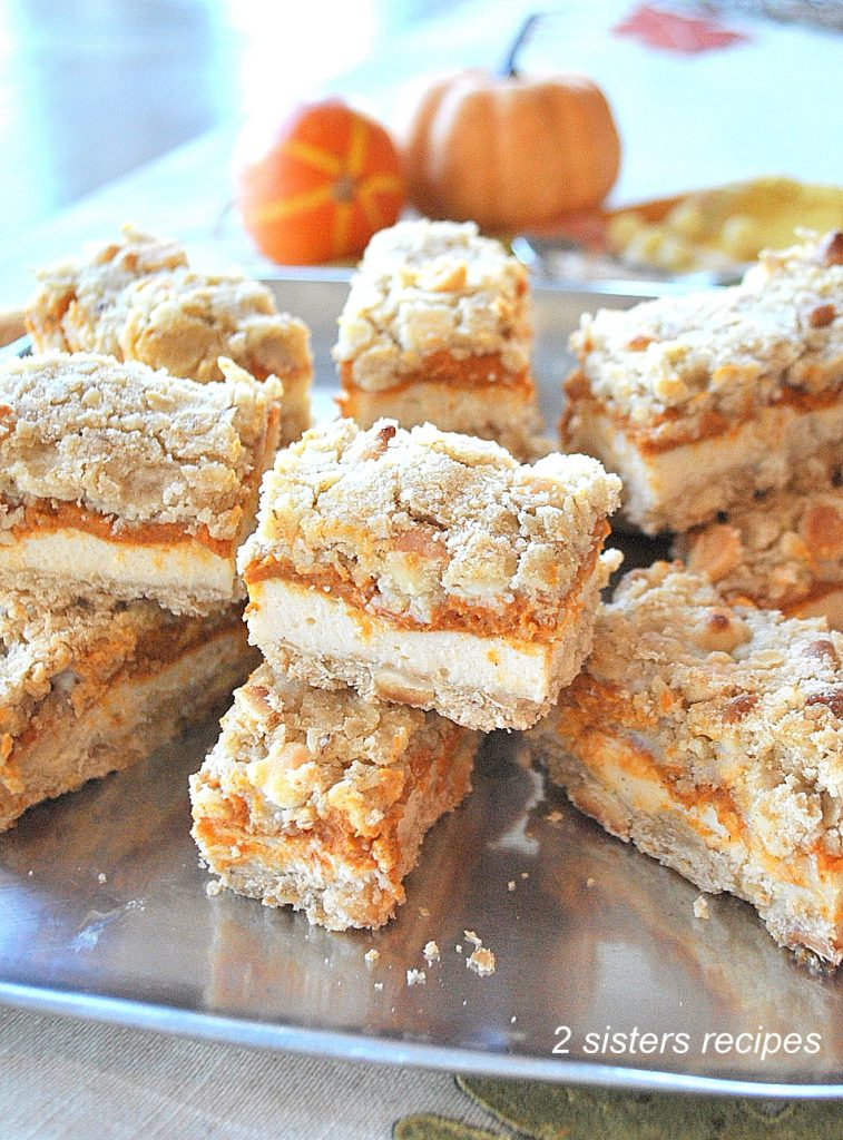 Pumpkin Spice Cheesecake Bars by 2sistersrecipes.com