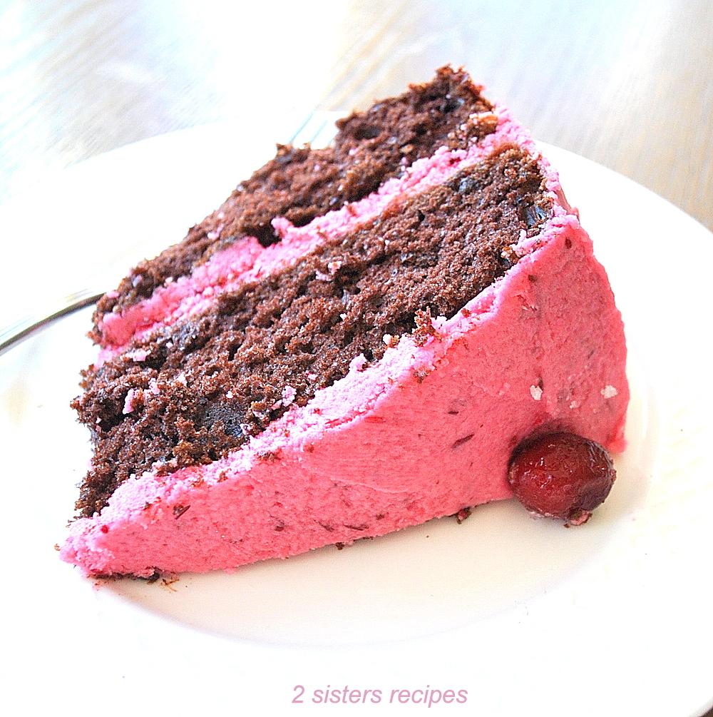 Cranberry Buttercream Chocolate Cake by 2sistersrecipes.com