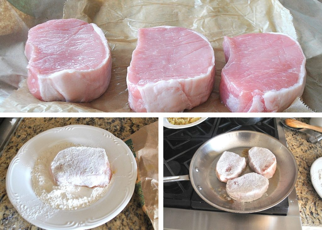 photo of pork chops, coating in flour by 2sistersrecipes.com