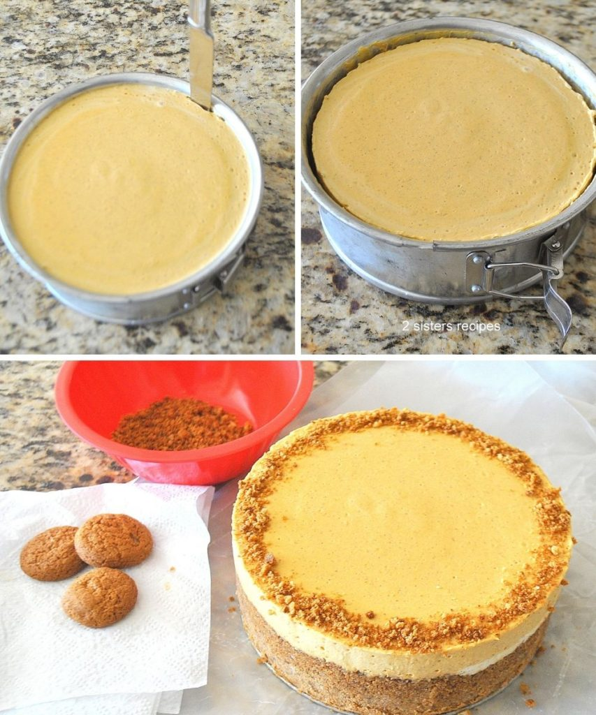 Chilled cheesecake with crumbled cookies on top. by 2sistersrecipes.com