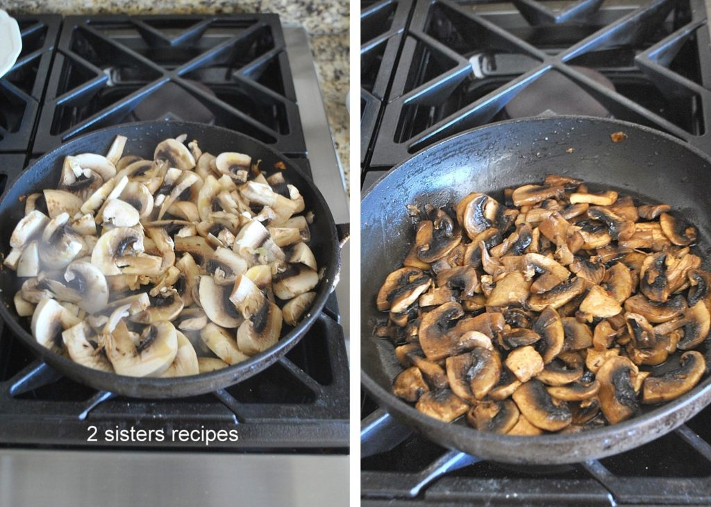 mushrooms cooking in a skillet by 2sistersrecipes.com