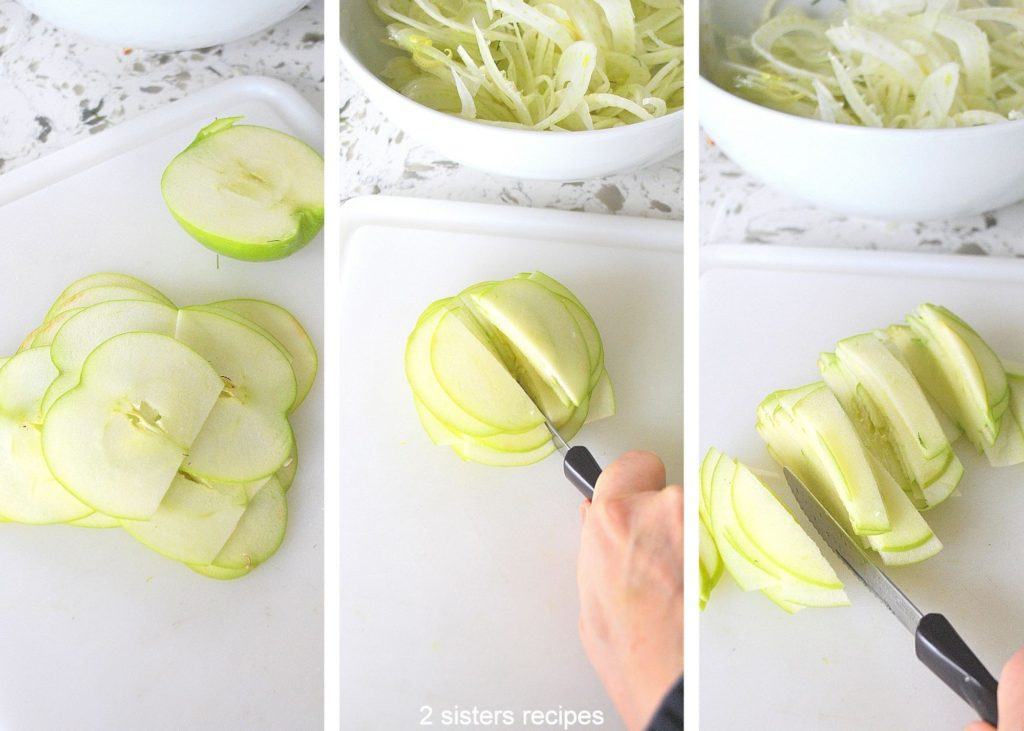 Photos of slicing the apple thinly. by 2sistersrecipes.com